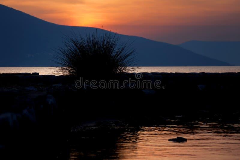 Заход солнца Tivat стоковые изображения rf