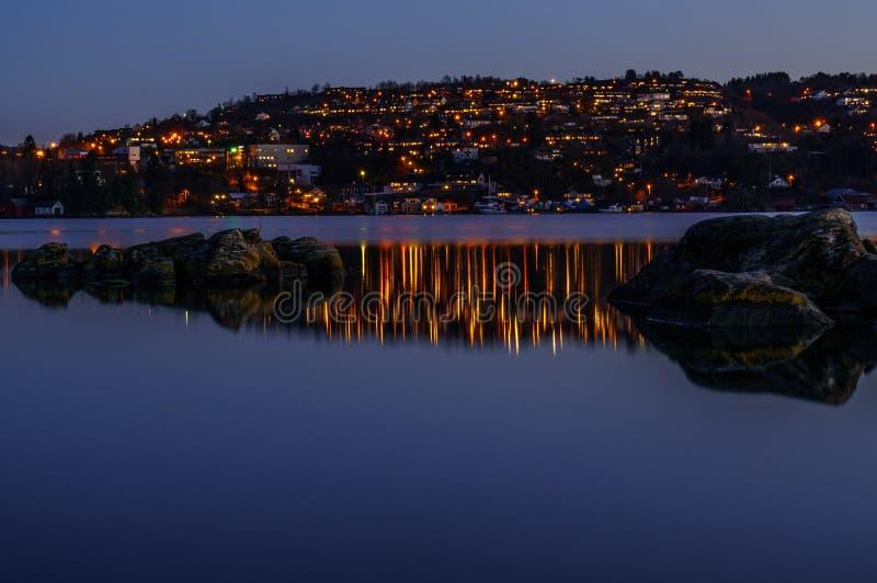 Заход солнца Troldhaugen, Норвегия, Берген стоковая фотография