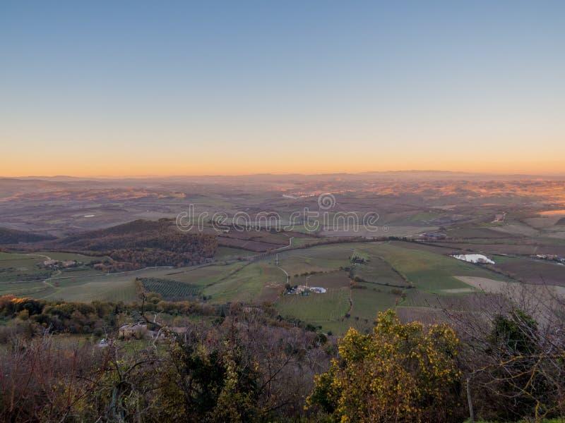 заход солнца tuscan стоковая фотография rf