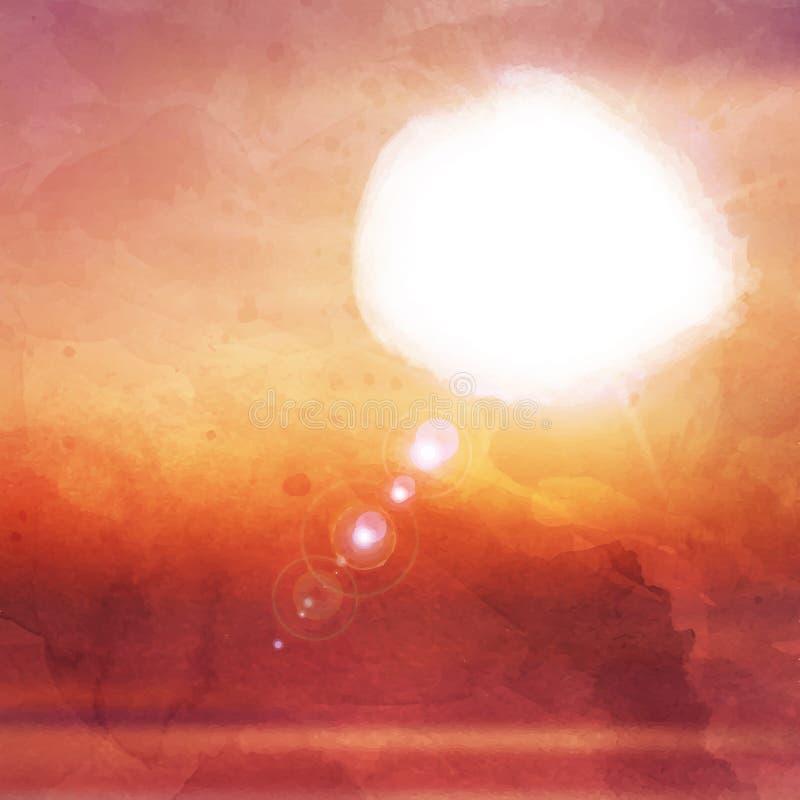Заход солнца Watercolour иллюстрация вектора