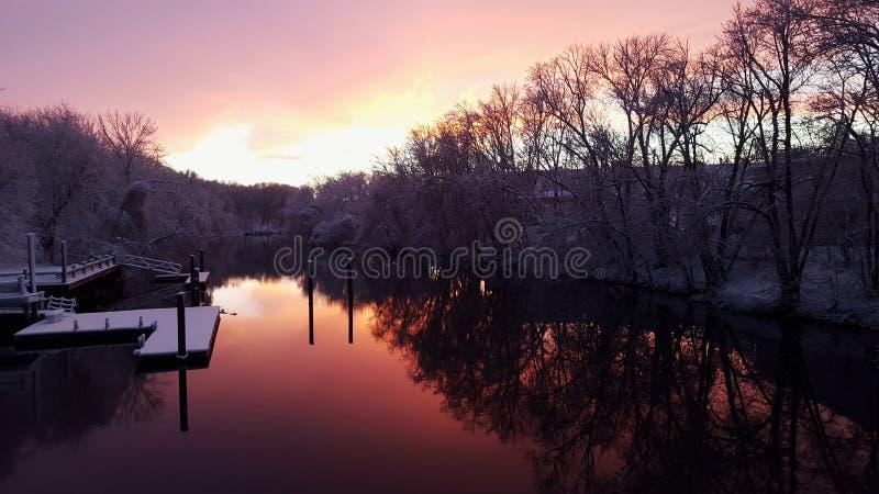 Заход солнца Wintertime на посадке Blackstone стоковое фото