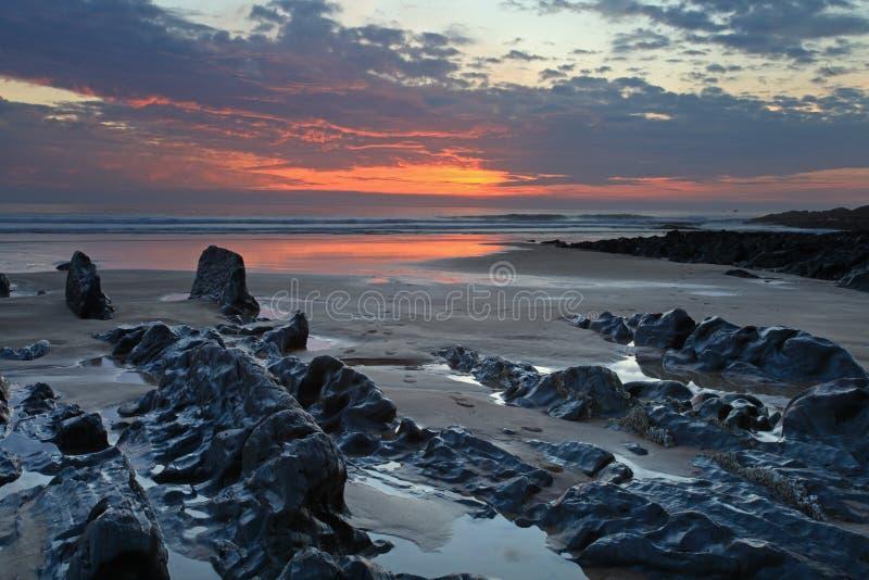 Заход солнца Woolacombe   Северное побережье Девона стоковая фотография