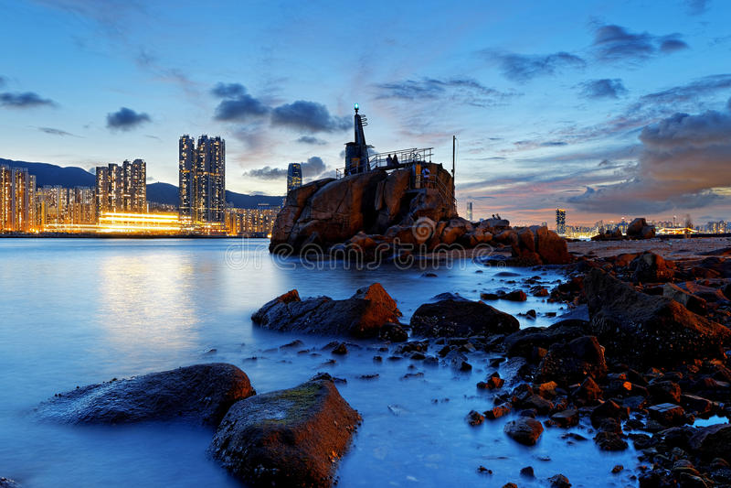 Заход солнца Yue Mun леев Гонконга стоковое изображение rf