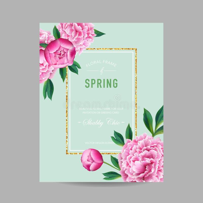 Зацветая весна и дизайн лета флористический Цветки пиона акварели розовые для приглашения, свадьбы, карточки детского душа иллюстрация вектора