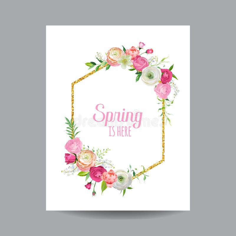 Зацветая рамка весны и лета флористическая с золотой границей яркого блеска Цветки роз акварели для приглашения, Wedding иллюстрация вектора