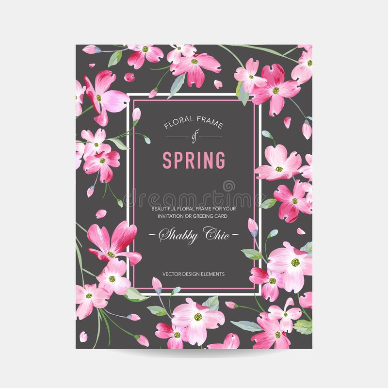 Зацветая рамка весны и лета флористическая Цветки Сакуры акварели для приглашения, свадьбы, карточки детского душа бесплатная иллюстрация
