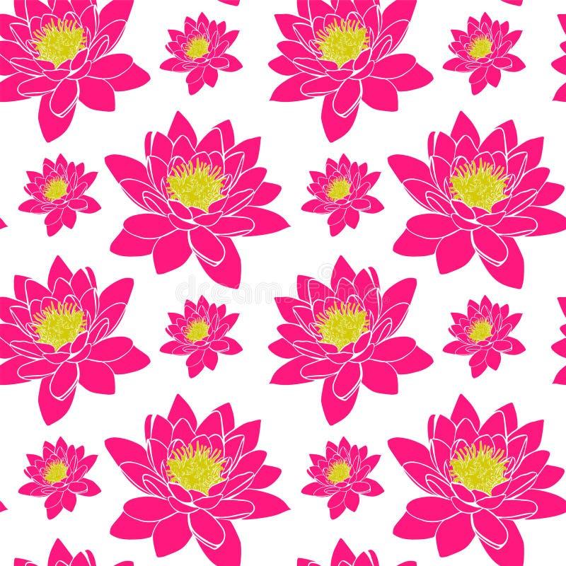 Зацветая розовая лилия воды с желтыми тычинками, безшовная картина иллюстрация штока