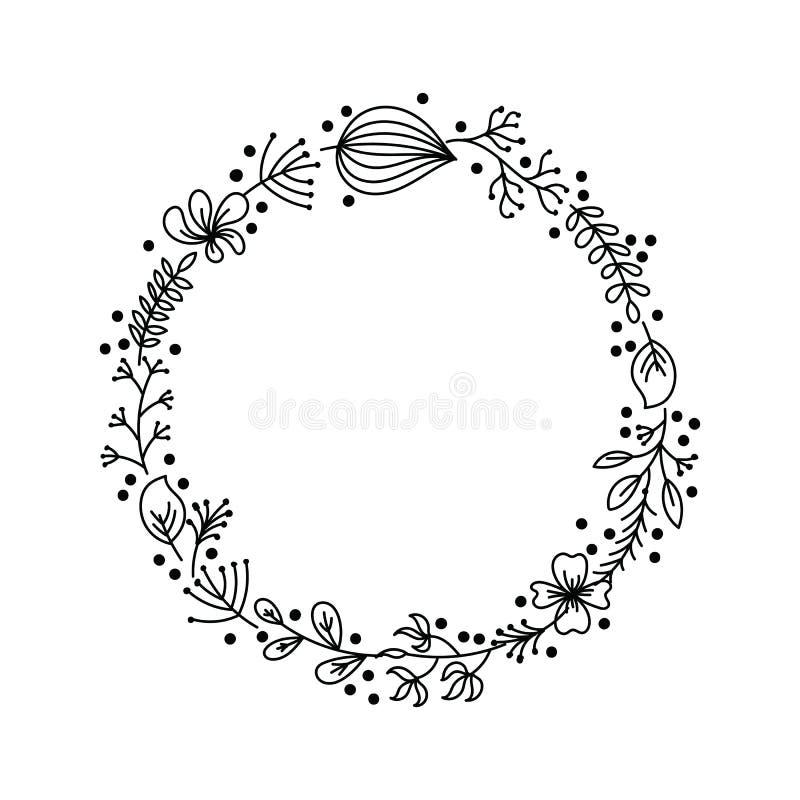 Зацветите венок от цветков чертежа руки, листьев, ветвей и трав леса Круглая рамка от цветков картины руки и стоковая фотография rf