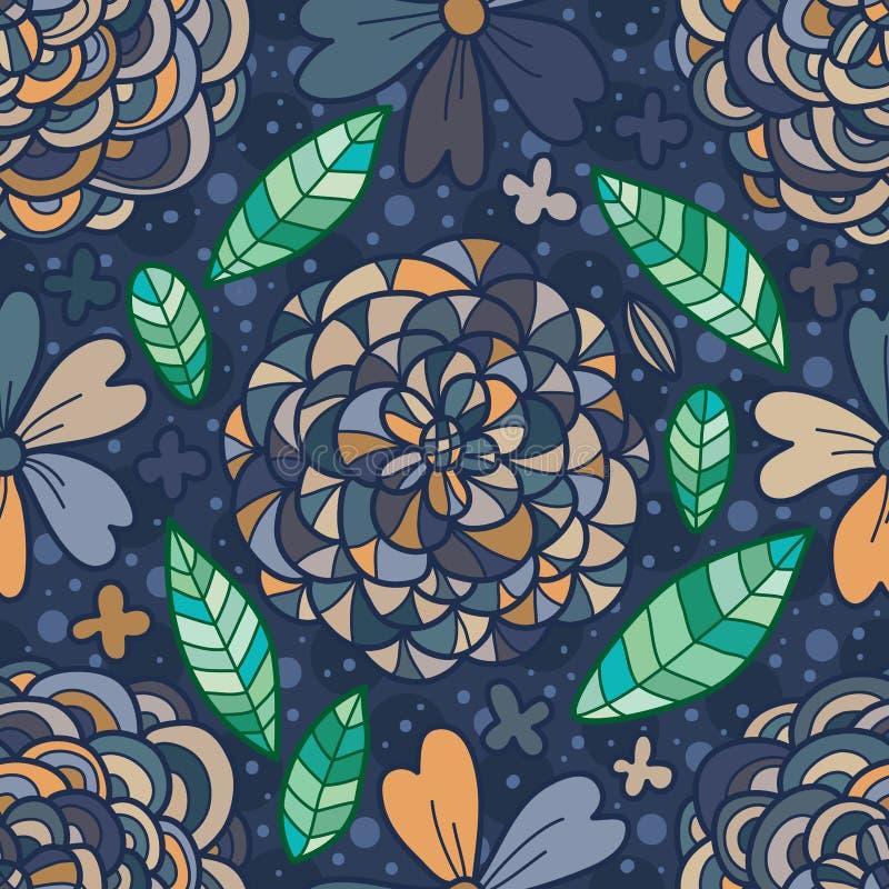 Зацветите линия картина голубого коричневого цвета чертежа пастельная безшовная иллюстрация штока
