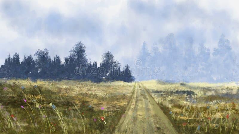 Зацветите луг с деревьями и небом, картиной ландшафта цифровой бесплатная иллюстрация