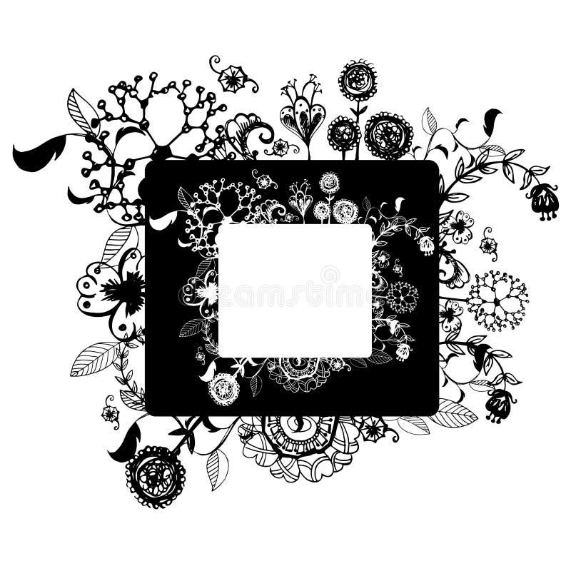 Зацветите рамка вектора на эскизе чертежа свободной руки на белой предпосылке бесплатная иллюстрация