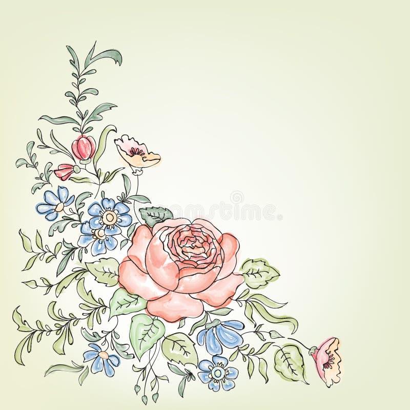 зацветите рамка Флористическая винтажная предпосылка в викторианском стиле иллюстрация штока