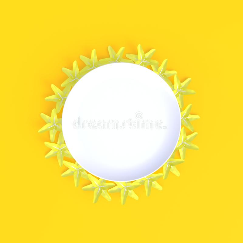 Зацветите с предпосылкой пустого белого конспекта блюда минимальной желтой, концепцией еды, взгляд сверху, плоско положением иллюстрация вектора