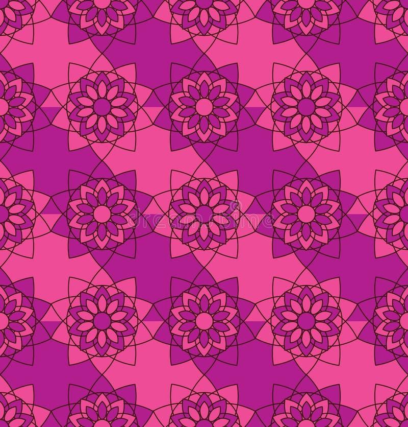 Зацветите цвета безшовной картины симметрии мандалы фиолетовые розовые иллюстрация вектора