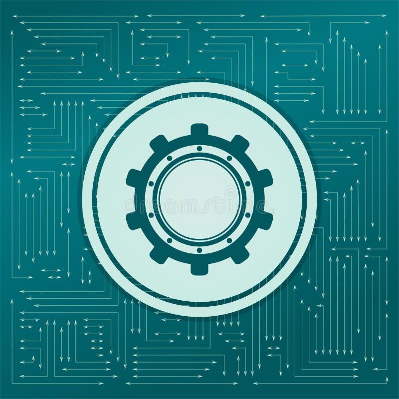 Зацепите, значок cog на зеленой предпосылке, с стрелками в различных направлениях Оно появляется электронная доска бесплатная иллюстрация