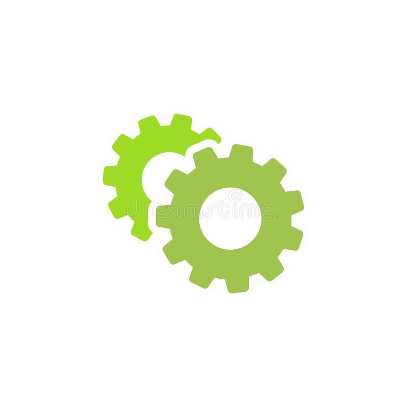 Зацепляет значок изолированный на белизне Шестерни одно сочетания из 2 зеленые за другим Иллюстрация вектора плоская иллюстрация штока