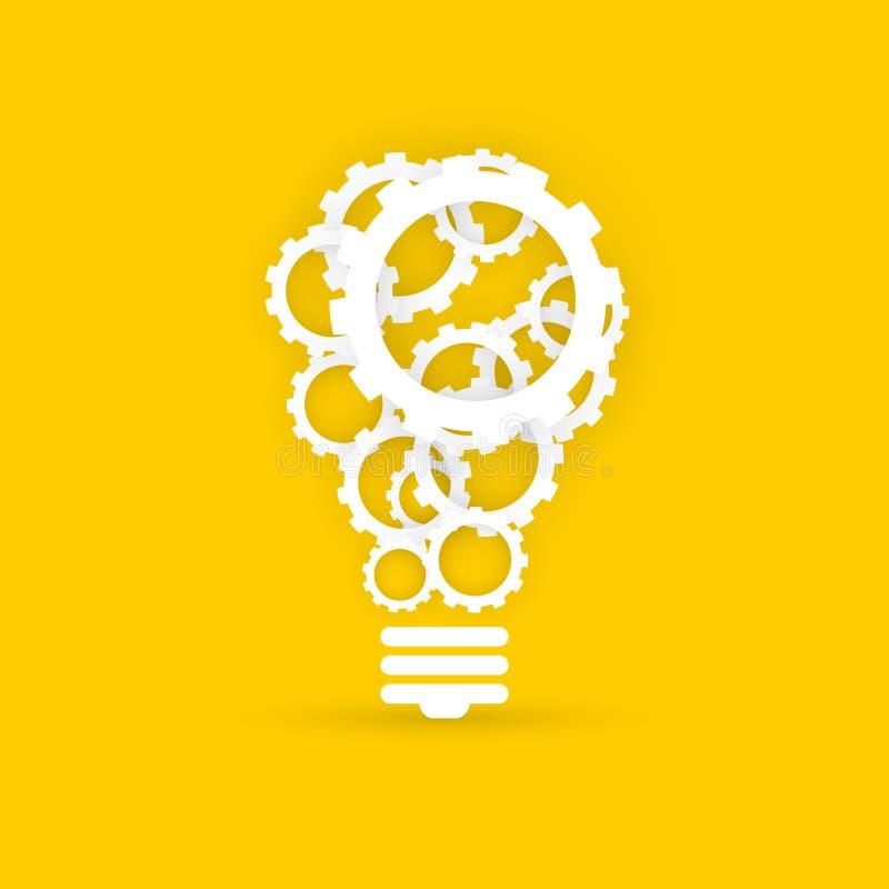 Зацепляет концепцию технологии электрической лампочки творческую на желтом backgroun иллюстрация вектора