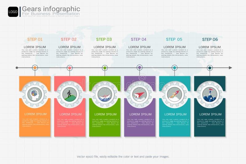 Зацепляет infographic шаблон для представления дела, стратегического плана для того чтобы определить значения компании бесплатная иллюстрация