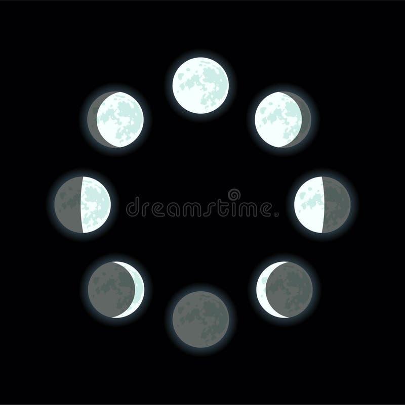 зацепляет икону Лунный участок Полнолуние, молодой месяц, затмение, waning луна, вощия луну иллюстрация вектора