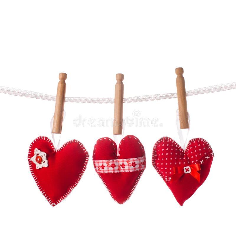 Handmade красные сердца стоковое фото rf