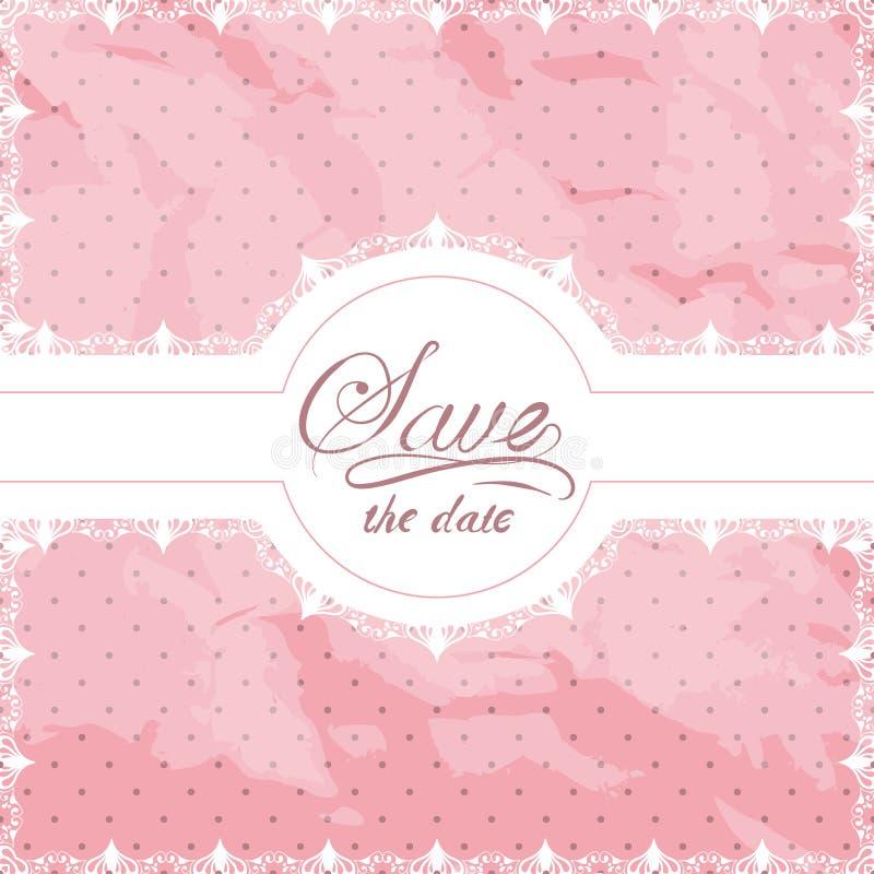 Зашнуруйте границу doily на розовой текстурированной затрапезной предпосылке точки польки иллюстрация штока
