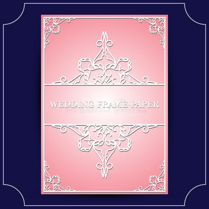 Зашнуруйте рамку с украшением бумаги выреза, поздравительной открыткой вектора или шаблоном приглашения свадьбы с винтажное декор бесплатная иллюстрация