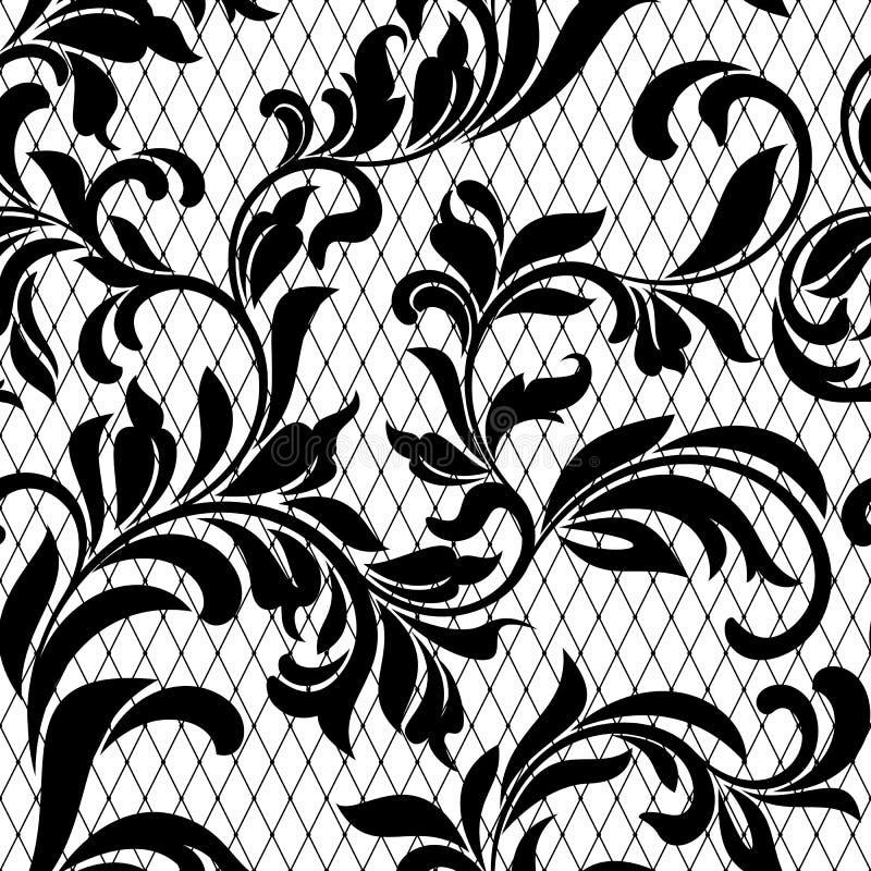 Зашнуруйте черную безшовную картину с цветками на белой предпосылке иллюстрация вектора