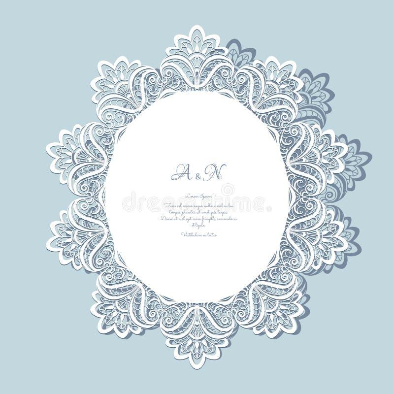 Зашнуруйте doily, поздравительную открытку или приглашение свадьбы иллюстрация штока