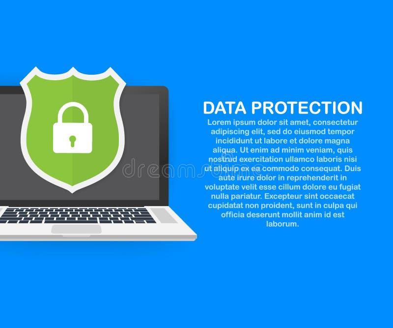 Защита данных, уединение, и безопасность интернета также вектор иллюстрации притяжки corel иллюстрация вектора
