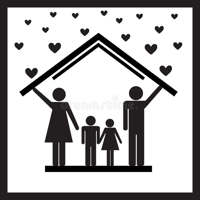 Защита семьи в доме иллюстрация штока
