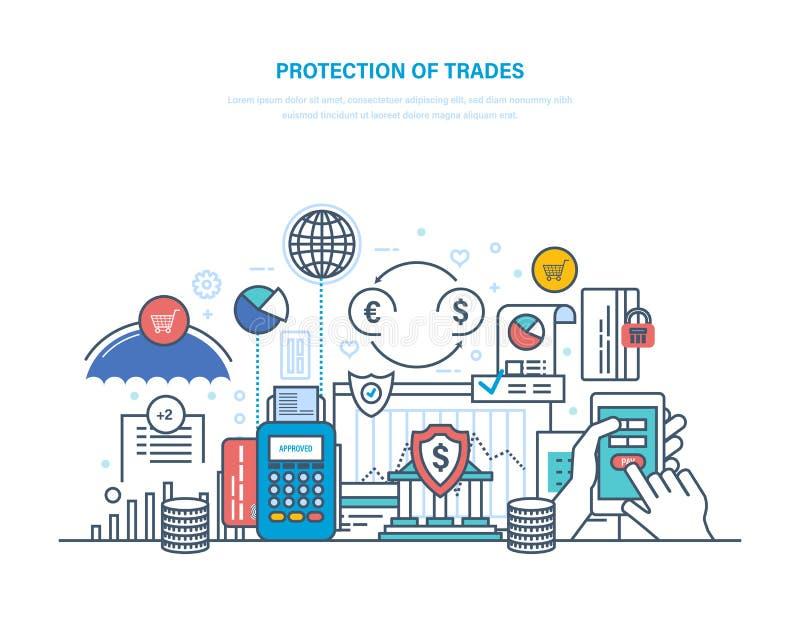 Защита торговли, вклада и аукционов Финансовая фондовая биржа, электронная коммерция иллюстрация штока