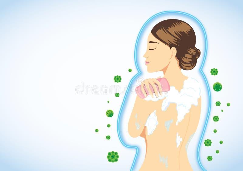Защитите кожу от бактерий мимо искупайте иллюстрация штока