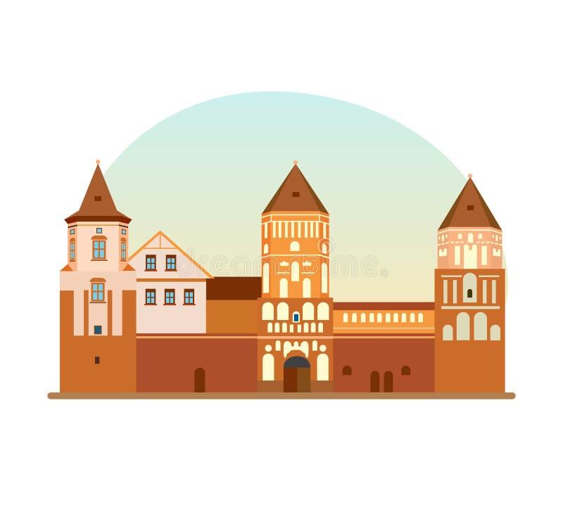 Защитительное городище, памятник, исторический, культурная ценность Республики Беларусь иллюстрация штока