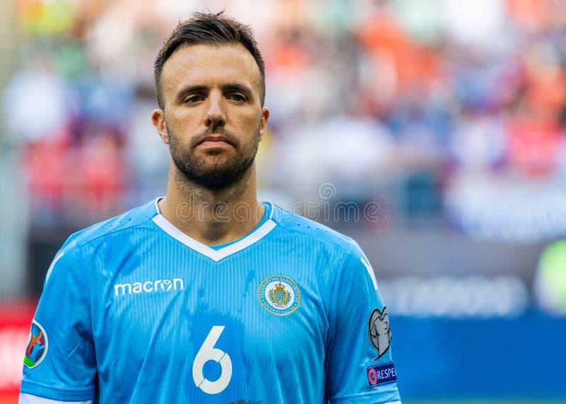 Защитник Fabio Vitaioli футбольной команды Сан-Марино национальный стоковое изображение rf
