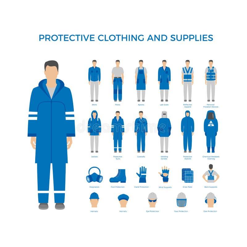 Защитные одежды и значки оборудования установили для индустрии конструкции иллюстрация вектора