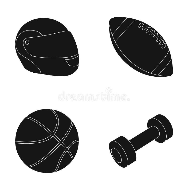 защитный шлем, шарик рэгби, шарик баскетбола, гантели Значки собрания спорта установленные в черном стиле vector символ иллюстрация штока