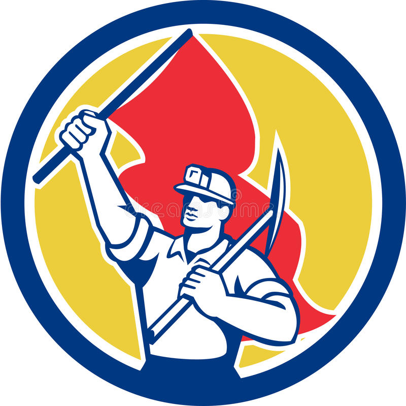 Защитный шлем шахтера держа ось и флаг ретро иллюстрация вектора