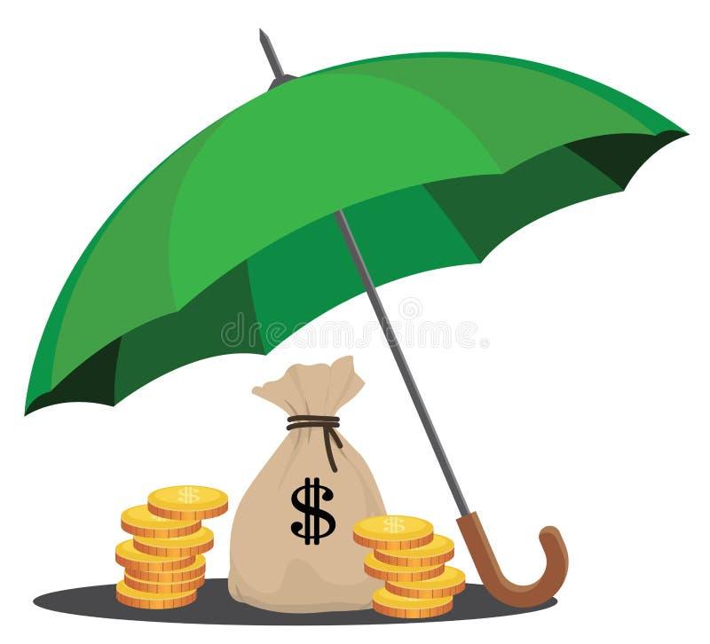 Защищая деньги и богатство иллюстрация вектора