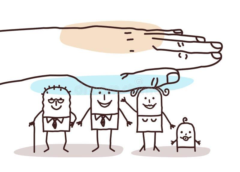 Защищая сильная рука - семья шаржа иллюстрация штока