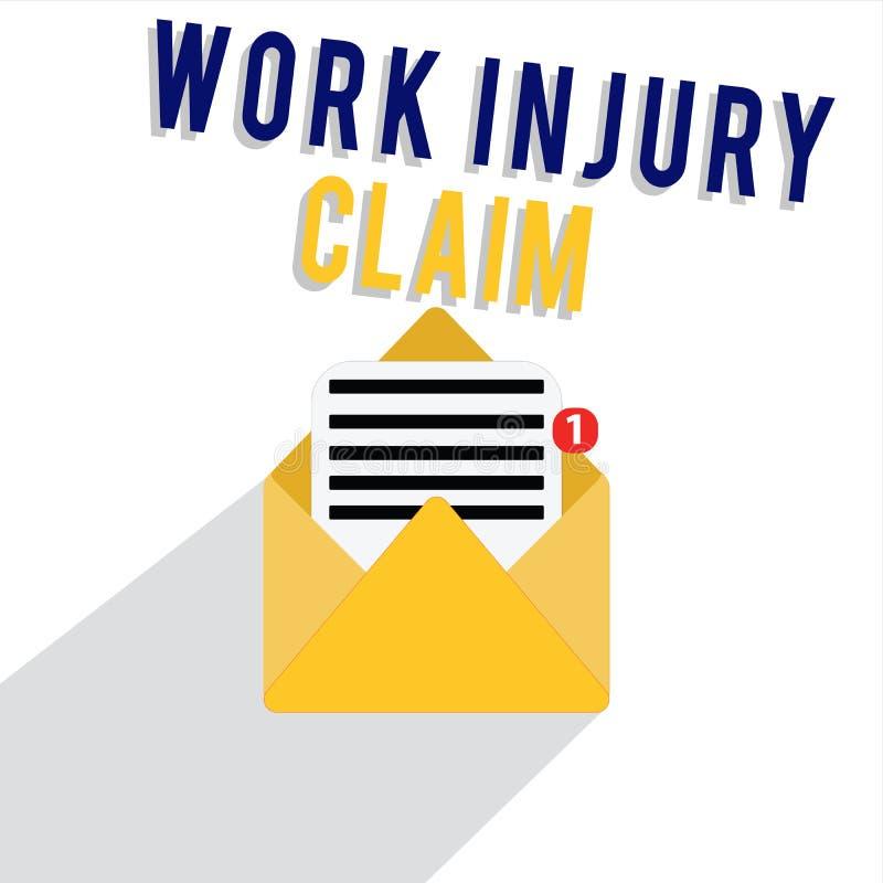 Заявка ушиба работы текста сочинительства слова Концепция дела для компенсации работника возмещения медицинского обслуживания бесплатная иллюстрация