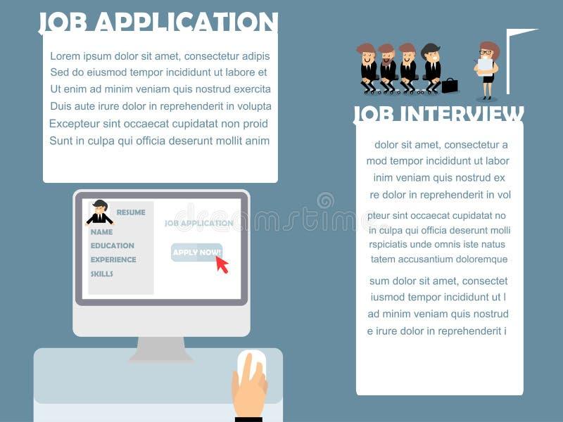 Заявление о приеме на работу и собеседование для приема на работу иллюстрация вектора