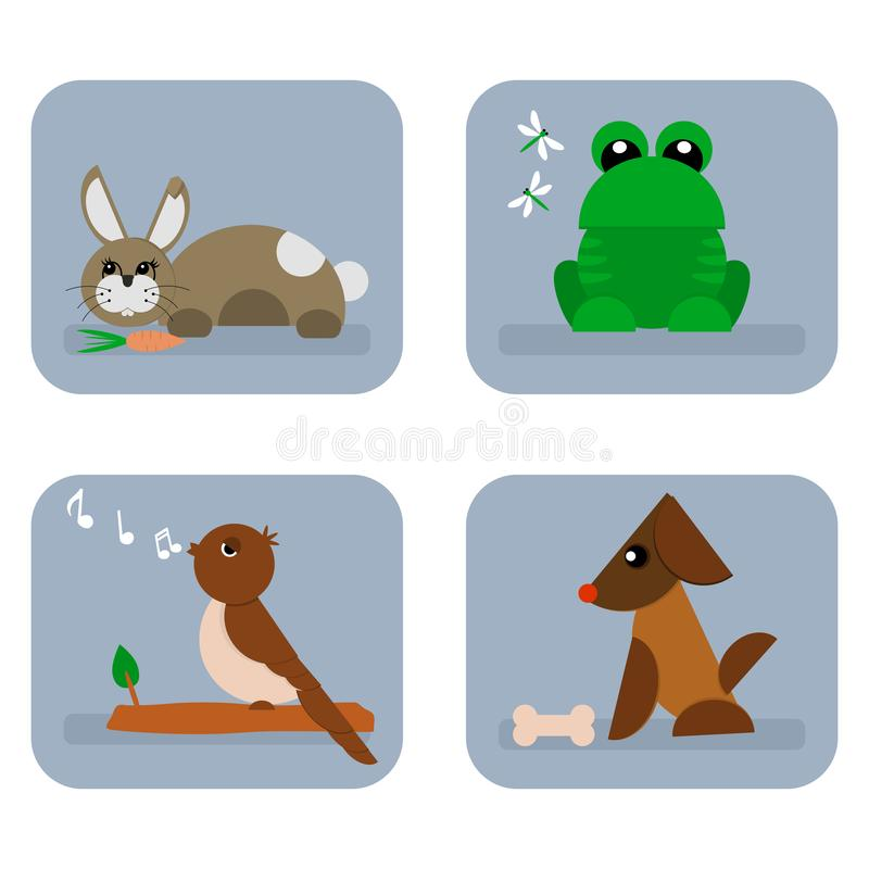 Cute little animal icons. Baby cute developing blue graphic animal icons vector illustration