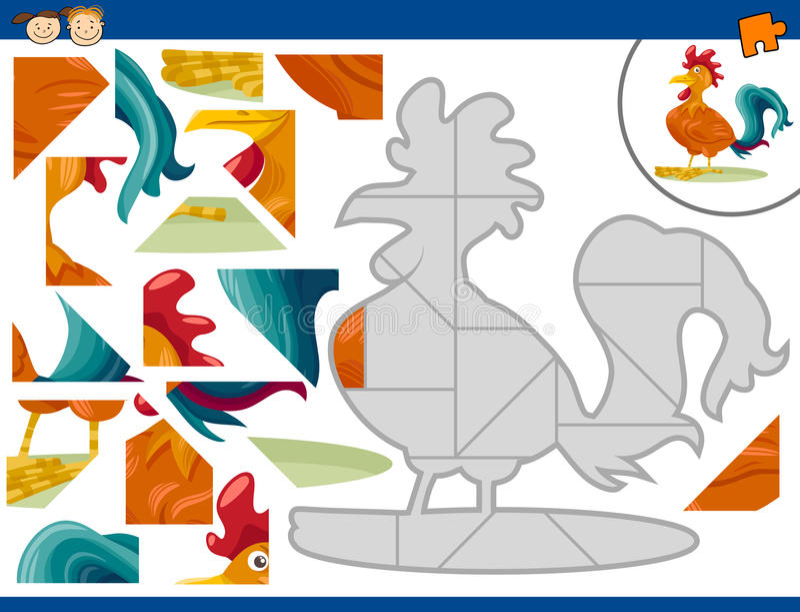 Задача мозаики петуха шаржа иллюстрация штока