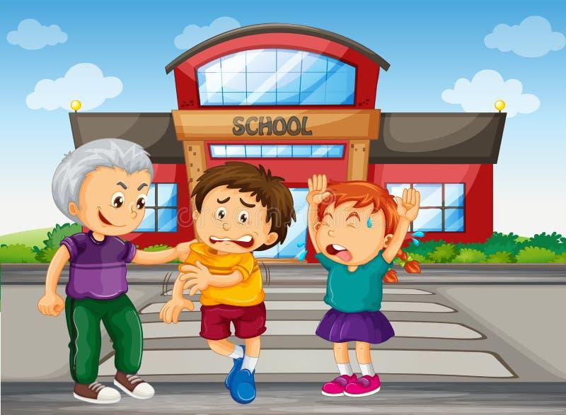 Задерите мальчика выбирая вверх на детях на школе иллюстрация вектора