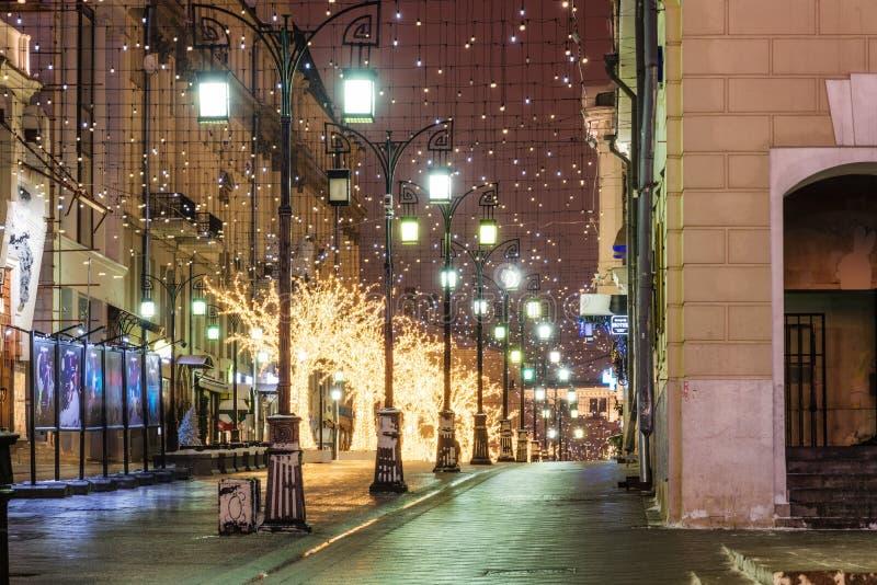 За зиму Москву до рождества и Нового Года стоковое изображение