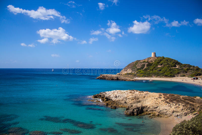 Залив Италия Сардиния Torre de Chia стоковая фотография