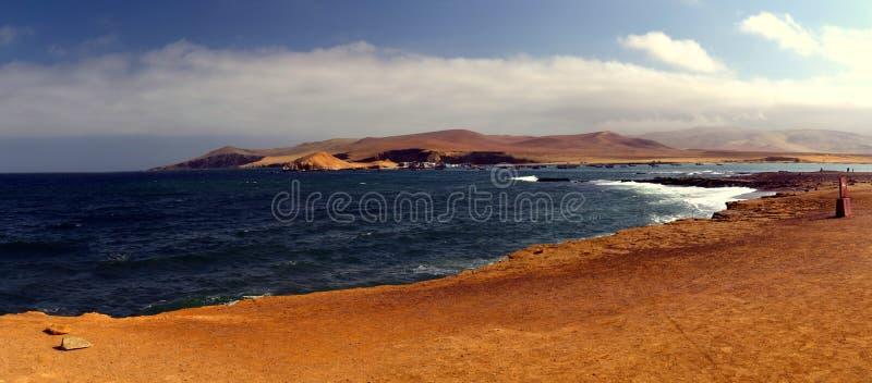 Залив панорамы в Paracas стоковое изображение rf