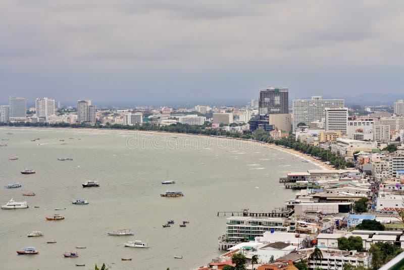 Залив Паттайя и пляж, Таиланд стоковые изображения rf