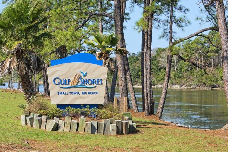 Залив подпирает дорожный знак Алабамы стоковая фотография rf
