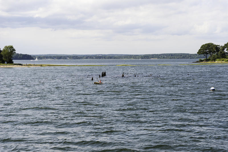 Залив Casco Kayaker стоковое фото rf
